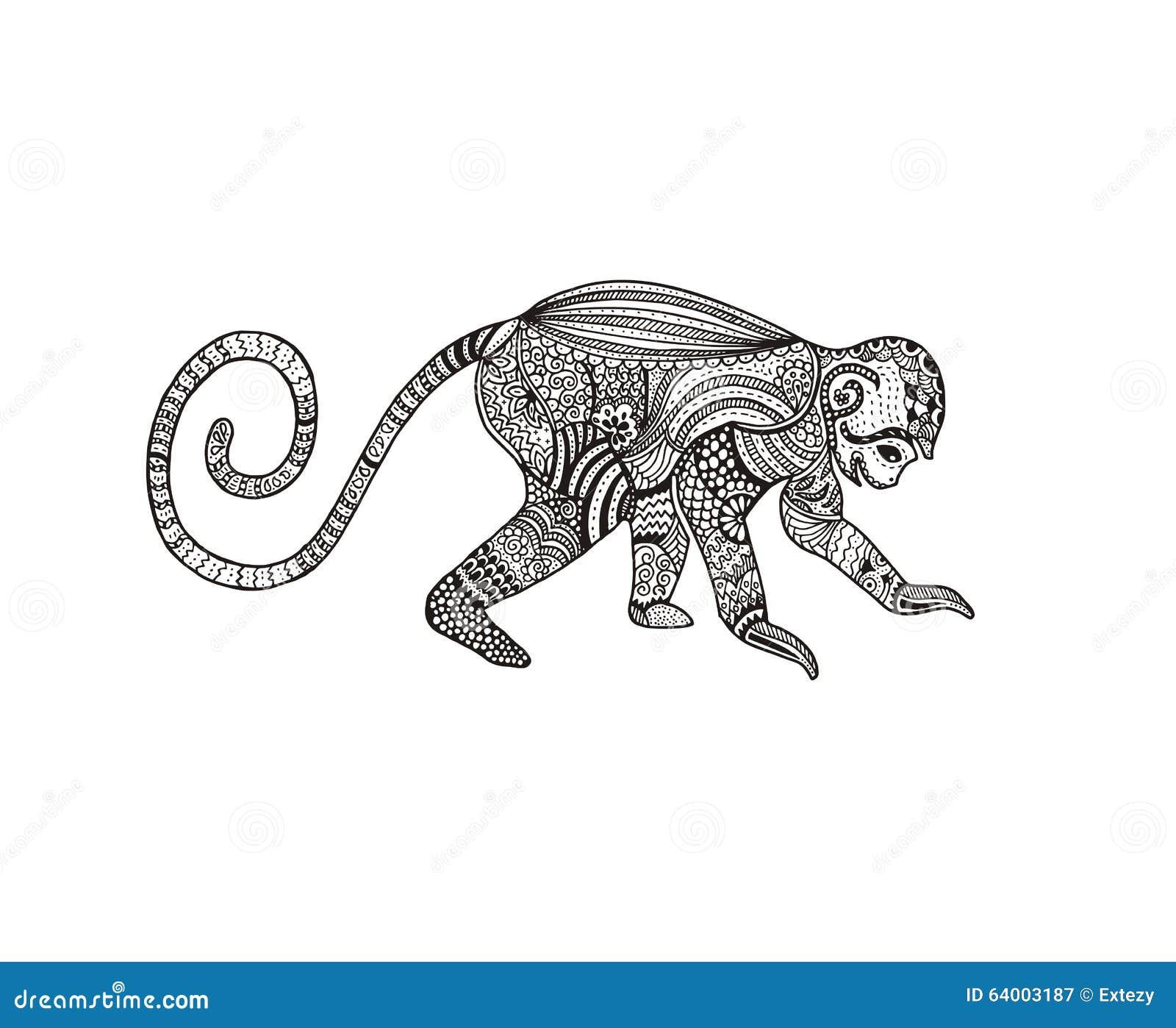 Abstract Hand Drawn Zentangle Monkey Vector Stock Vector
