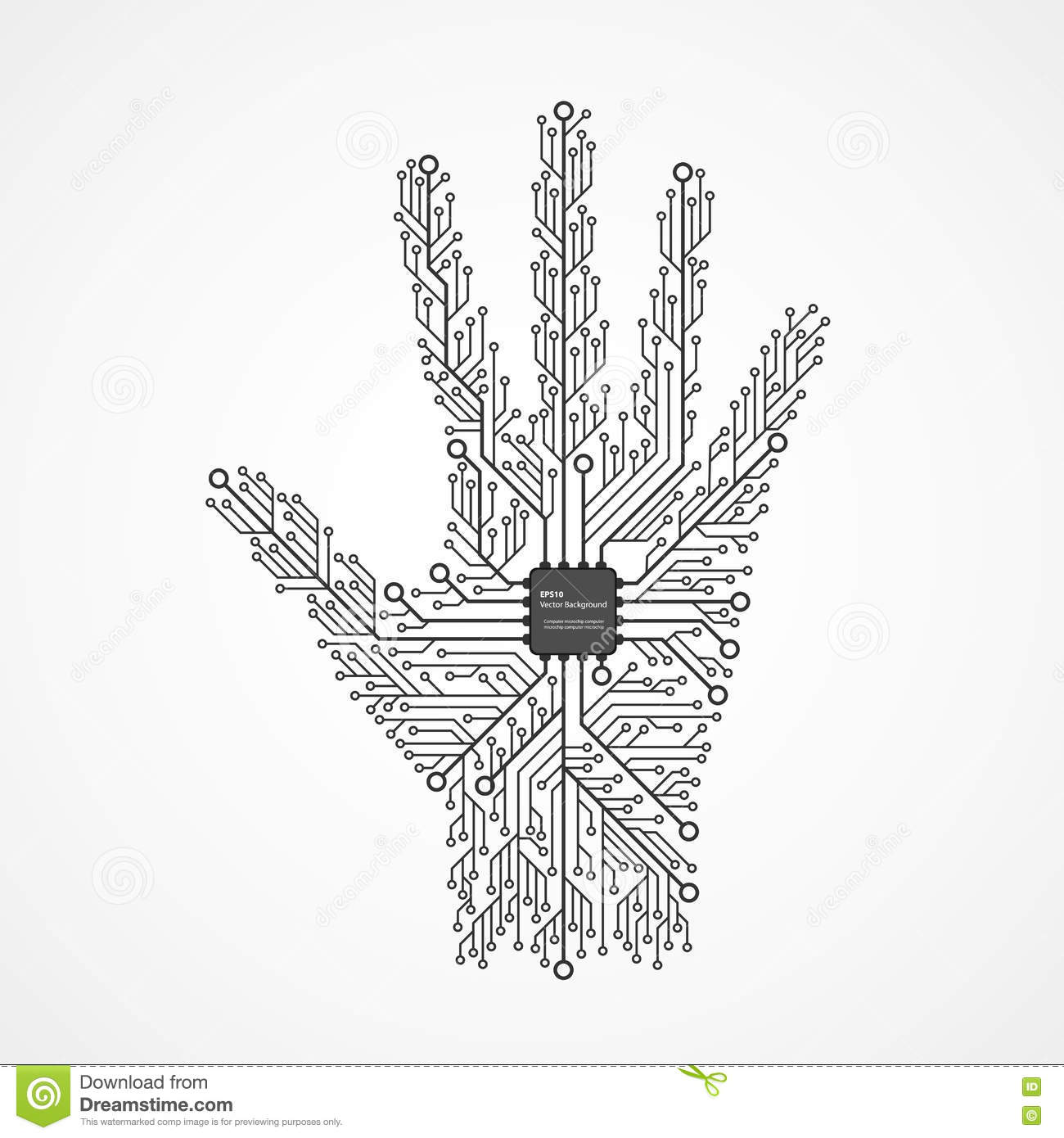 Abstract Hand In An Electronic Circuit Chip. Design Elements. Stock ...