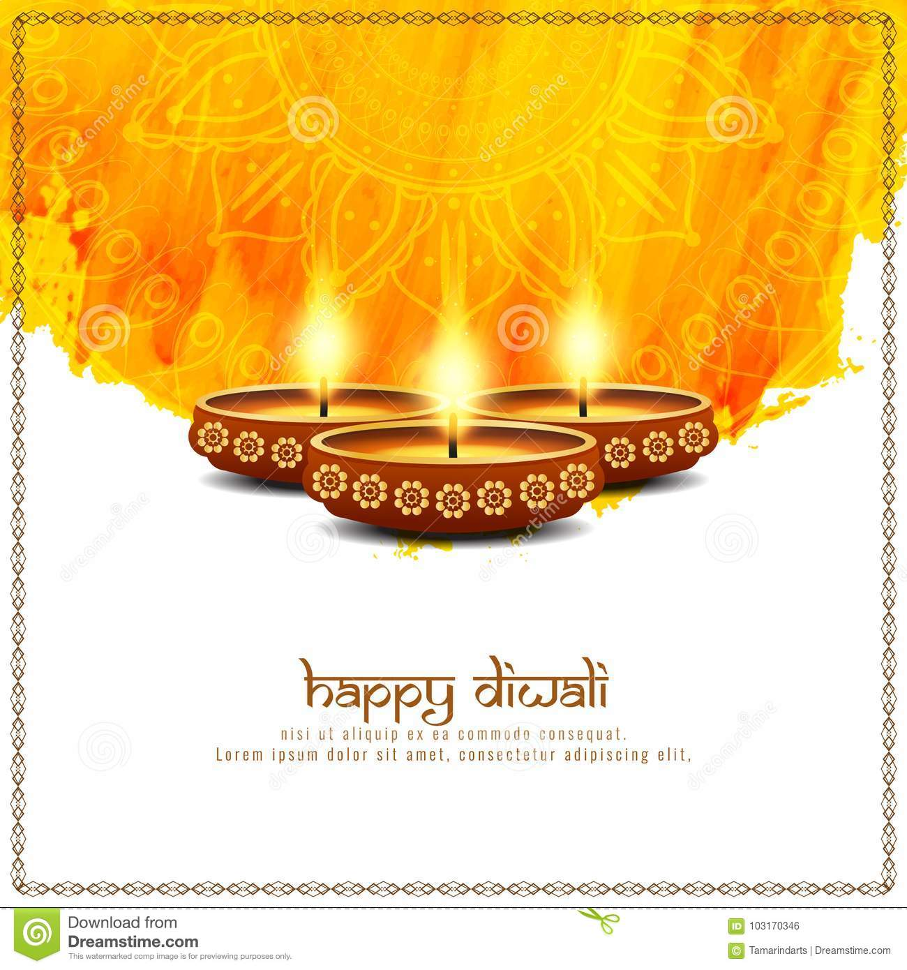 Abstract Happy Diwali Bright Background Stock Vector