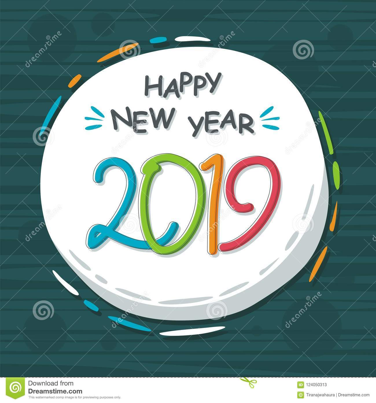 Abstract Happy New Year 2019 With Trendy Design Stock Vector