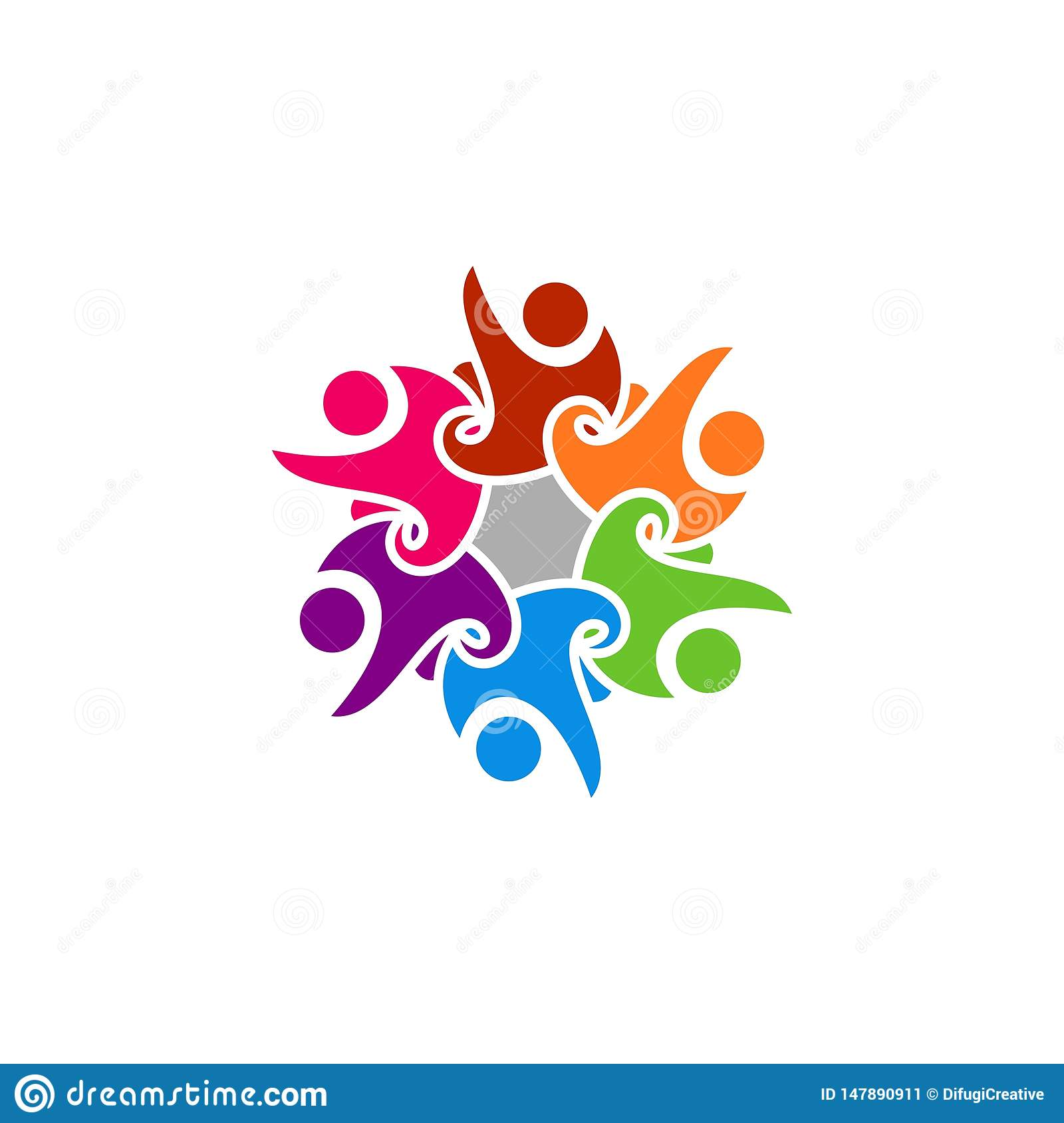 Abstract happy people logo.
