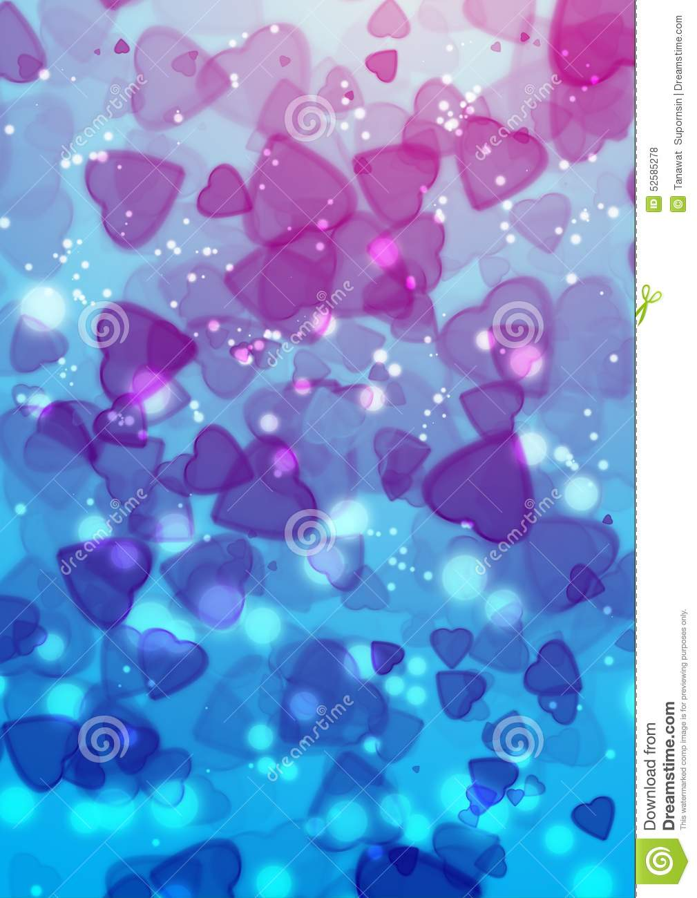 abstract heart blue purple color bokeh wallpaper stock photo - image