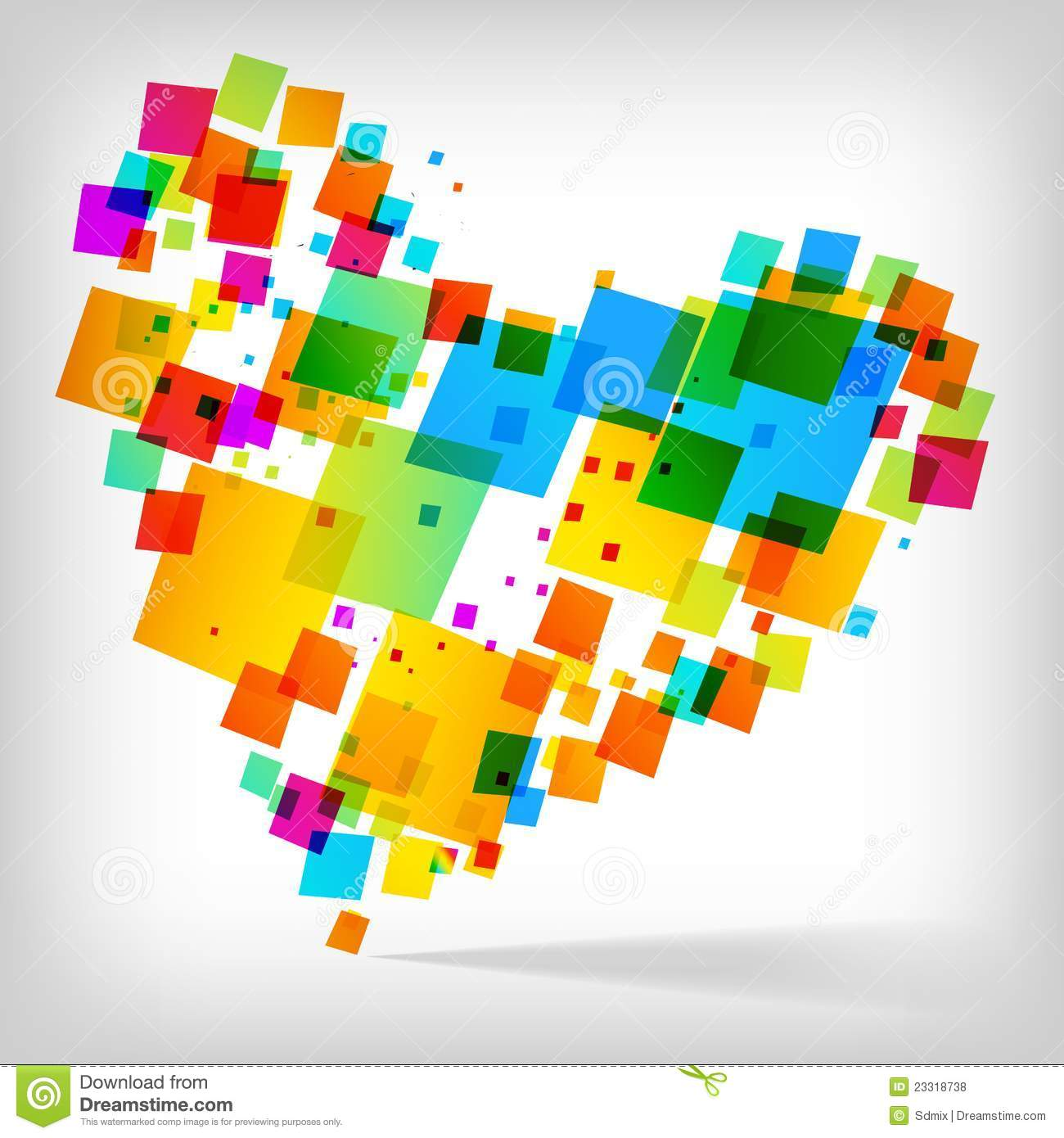The abstract heart colorful background