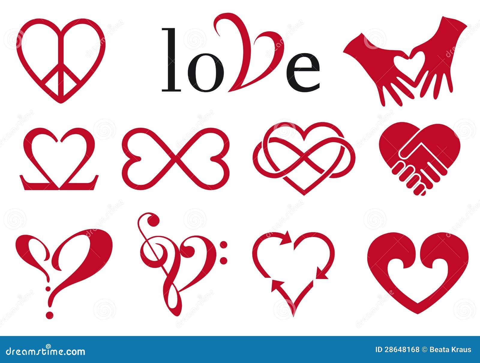 Abstract heart designs, vector set