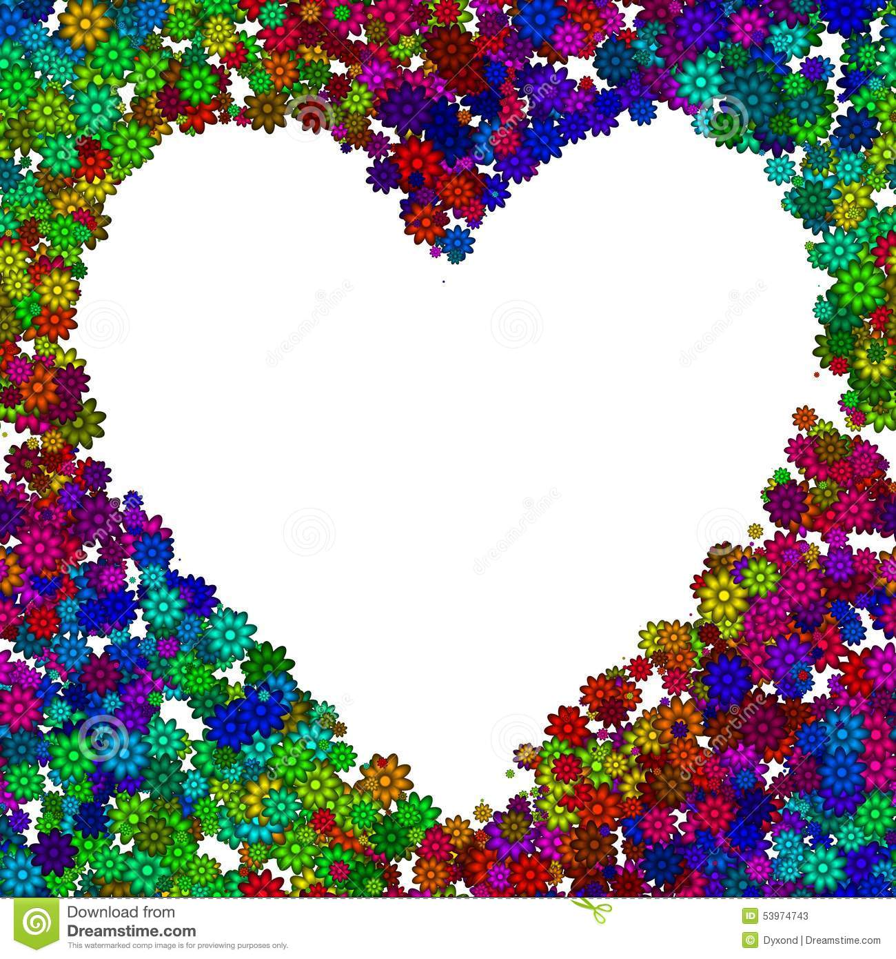 Abstract Heart Frame Made Of Flowers In Rainbow Colors