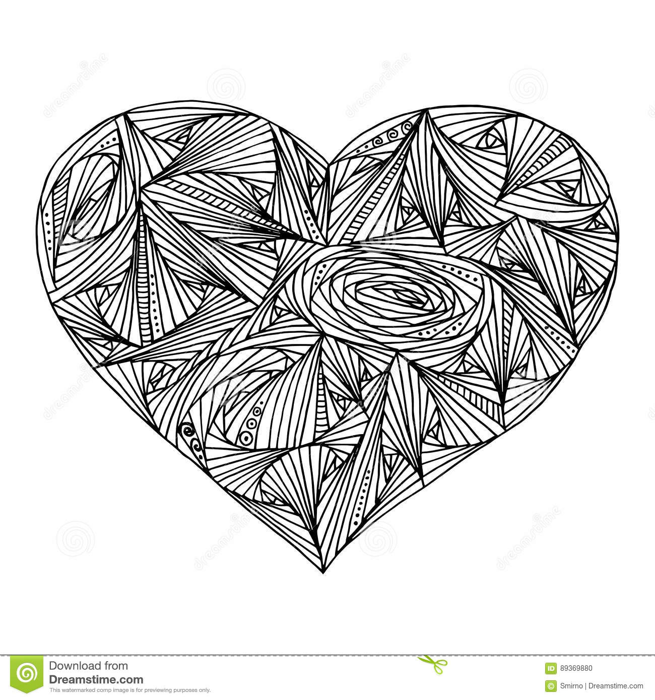 Abstract Heart With Geometric Pattern For Coloring Book ...