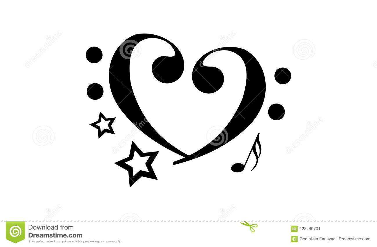 Abstract Heart Shape Music Note Tattoo Stock Vector Illustration