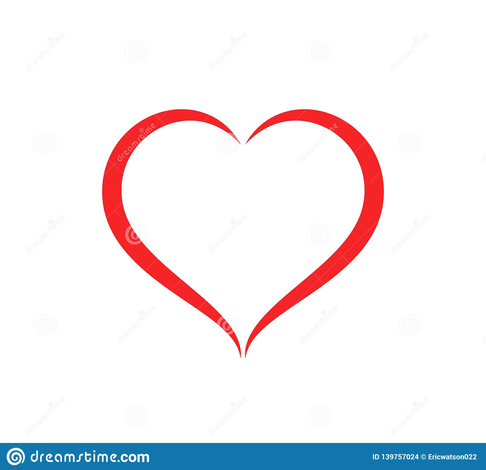 Abstract heart shape outline care Vector illustration. Red heart icon in flat style.