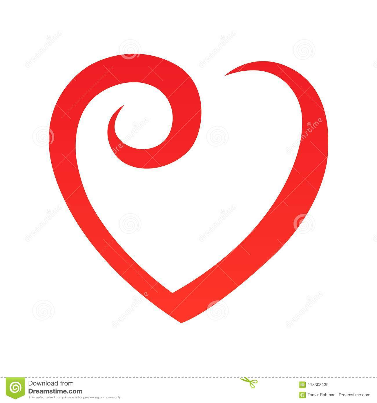 abstract heart shape outline vector illustration red heart icon in