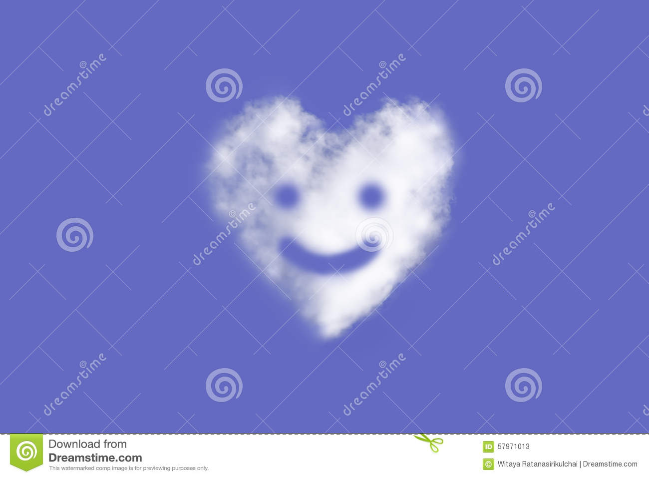 Abstract Heart Shaped Cloud With Smiley Face On Blue Sky Background