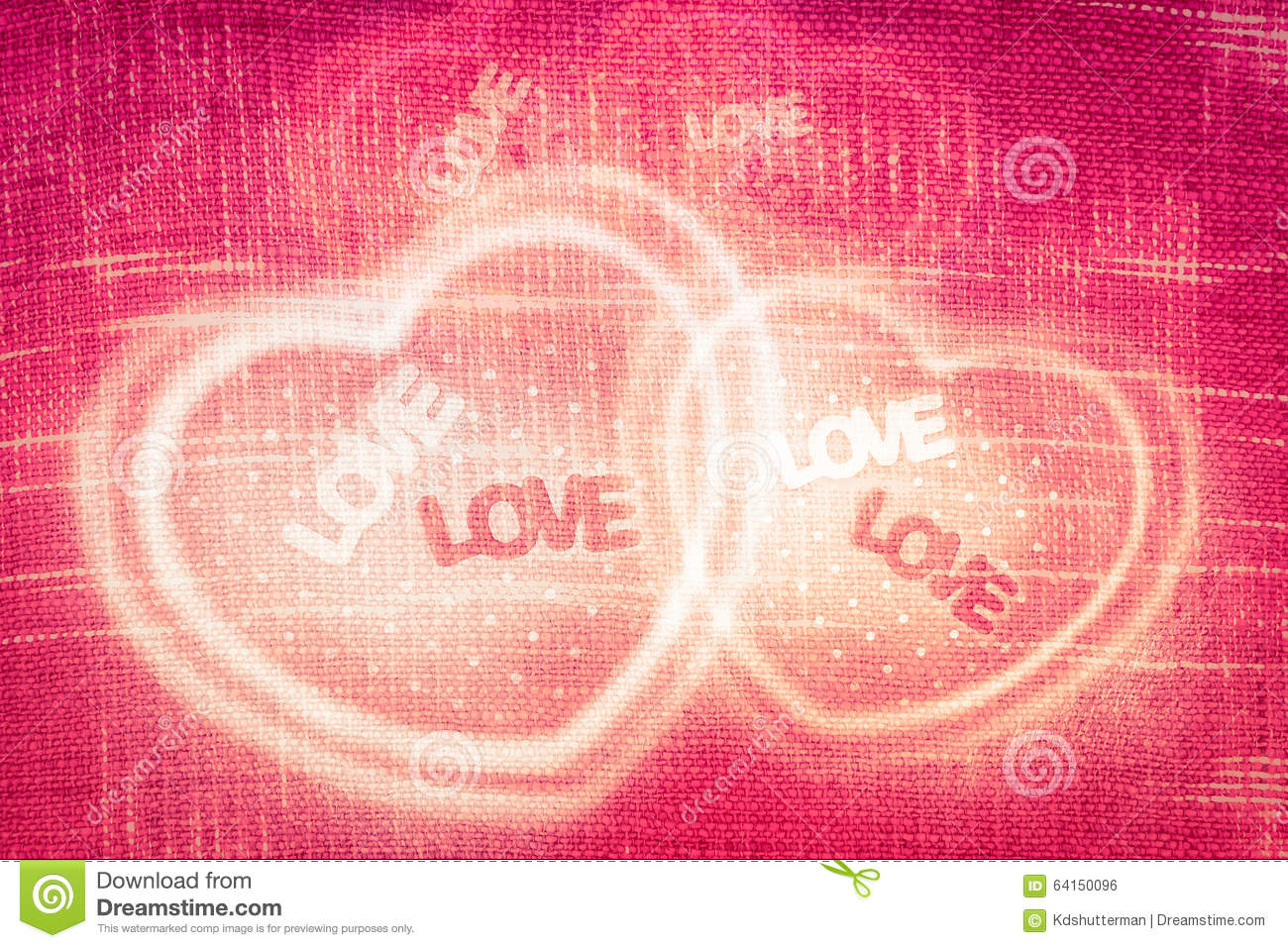 Abstract Heart Shaped On Red Fabric Texture Background Vintage