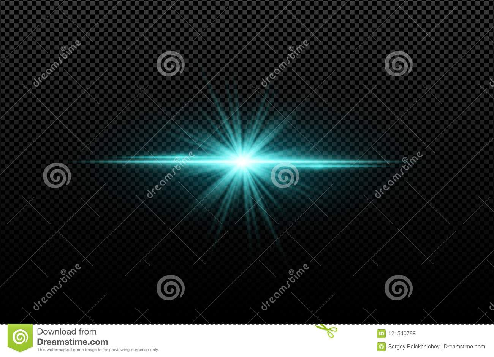 Abstract helder modieus lichteffect voor een transparante achtergrond Heldere gloeiende ster Multicolored gloed Blauwe stralen Kl