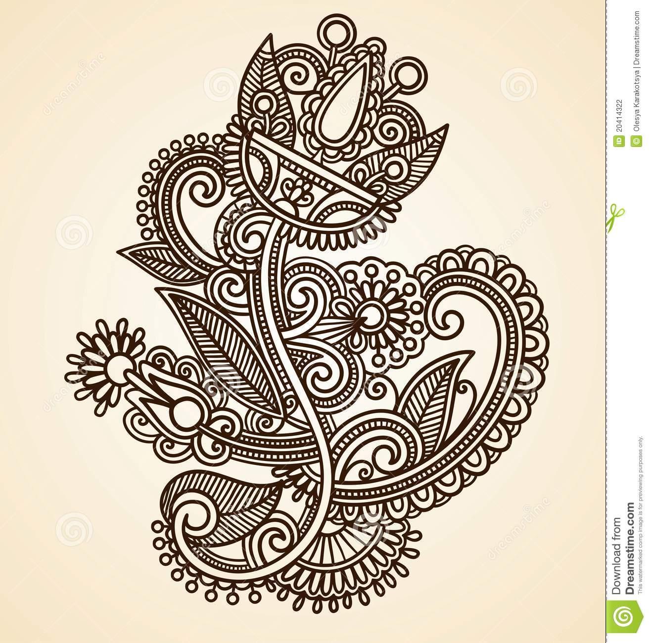 Henna Mendie Flowers Doodle Vector Illustration Design Element