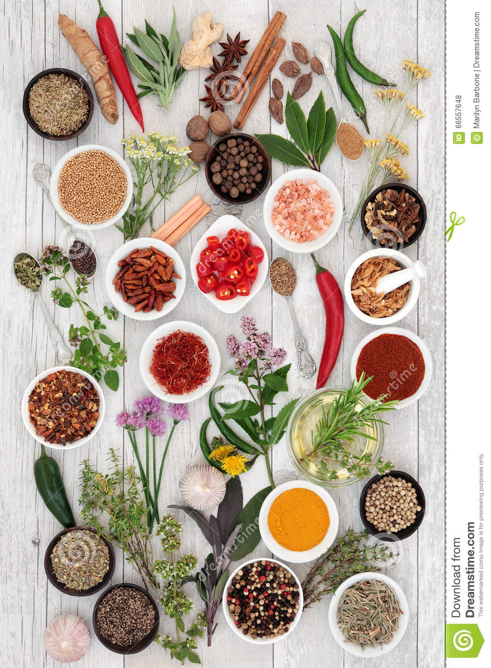 Abstract Herb and Spice Background