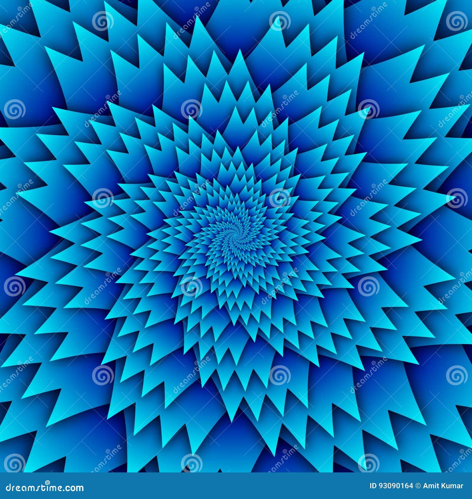 Abstract het patroon blauw van stermandala decoratief vierkant beeld als achtergrond, het beeldpatroon van de illusiekunst, achte