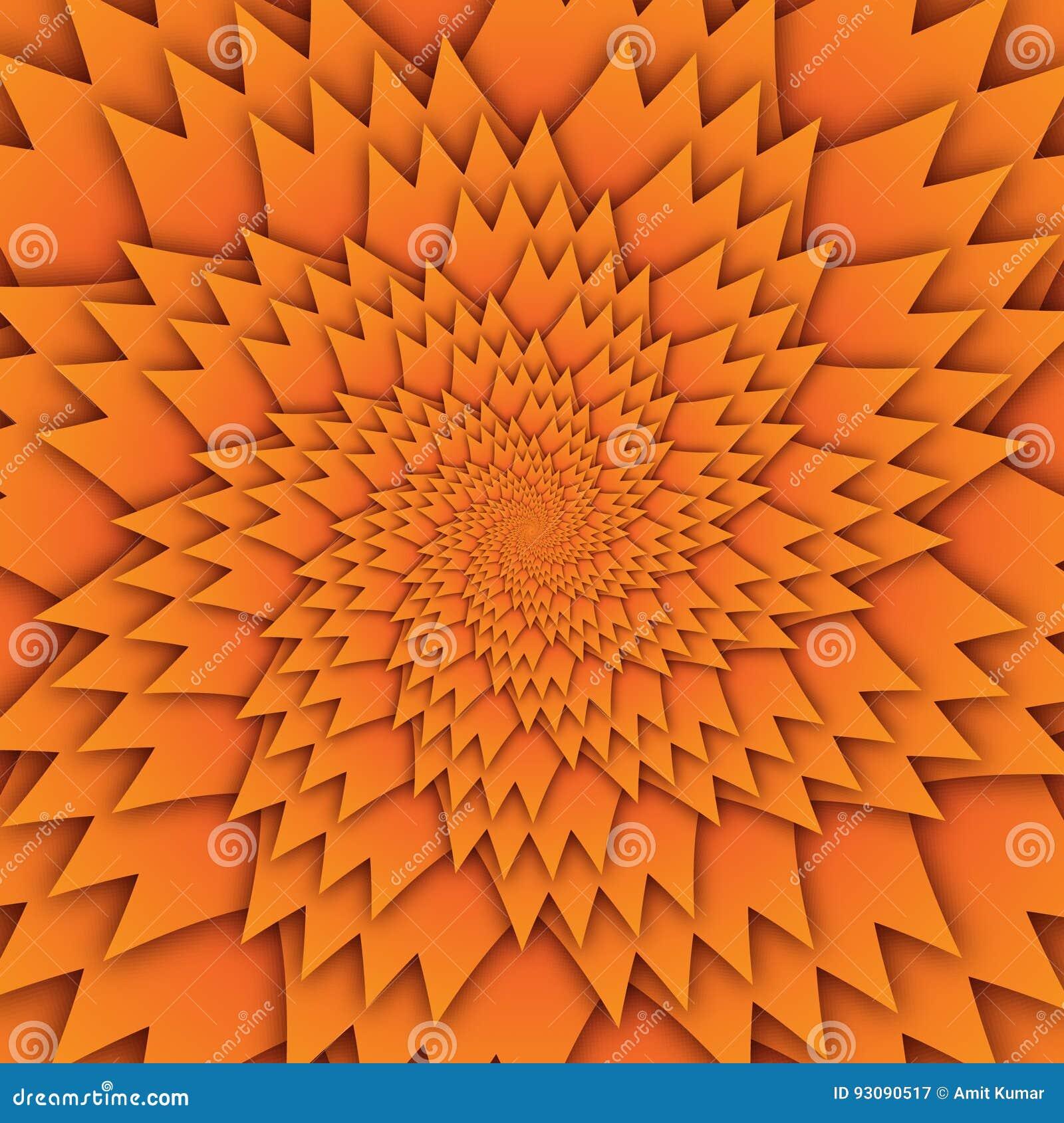 Abstract het patroon oranje van stermandala decoratief vierkant beeld als achtergrond, het beeldpatroon van de illusiekunst, acht