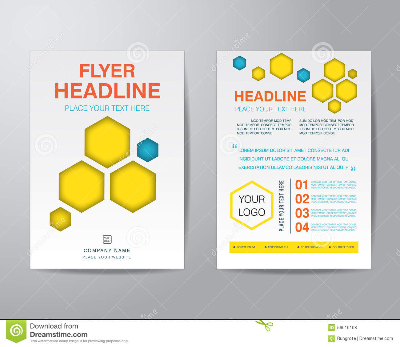 Abstract Hexagon Brochure Flyer Design Layout Template In