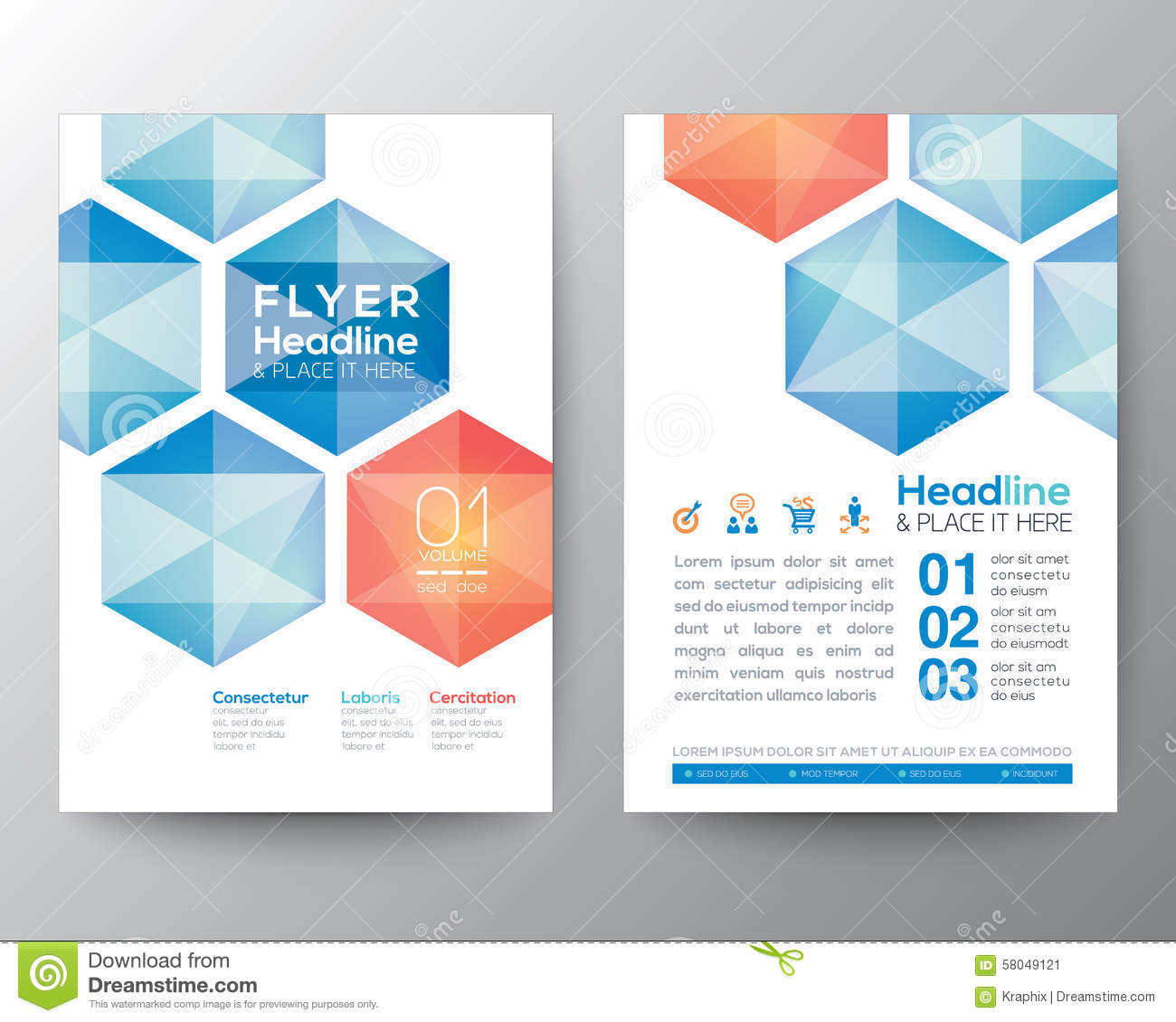Interior Design Courses From Home Abstract Hexagon Poster Brochure Flyer Design Template