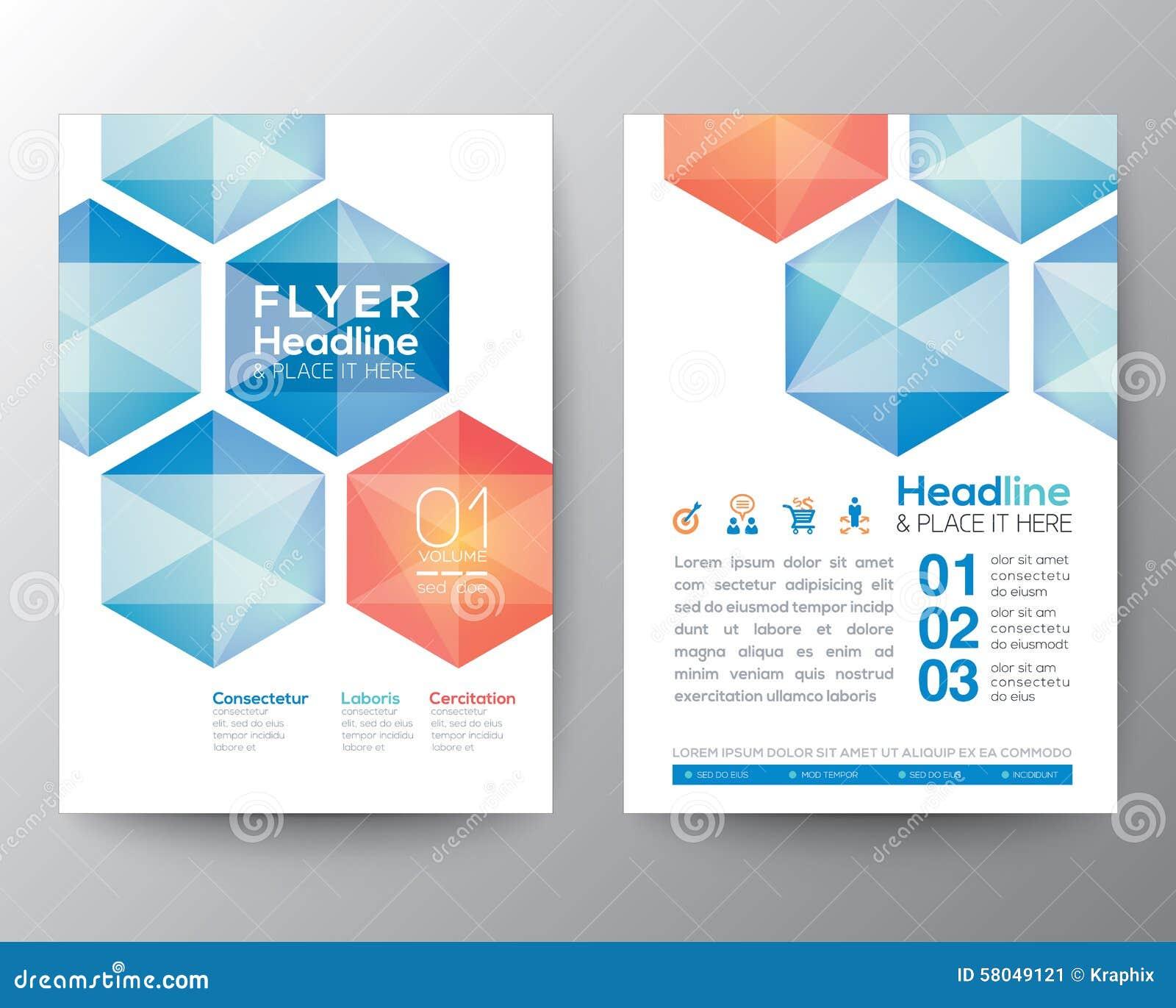 Mockup Interior Design Abstract Hexagon Poster Brochure Flyer Design Template