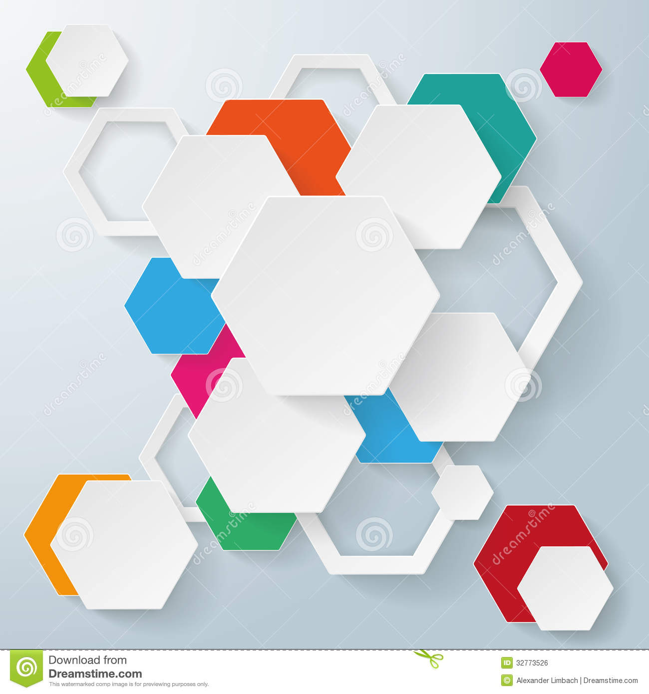 abstract hexagonal shelf full of multicolored books isolated on