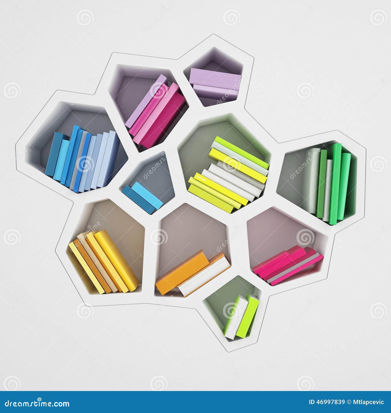 Abstract Hexagonal Shelf Full Of Multicolored Books
