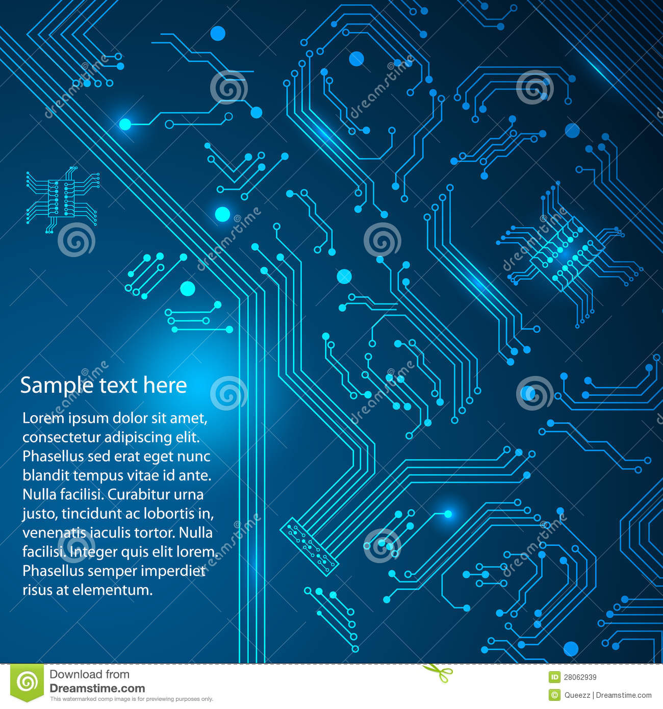 Blue Technology: Abstract Hi-tech Blue Background. Royalty Free Stock