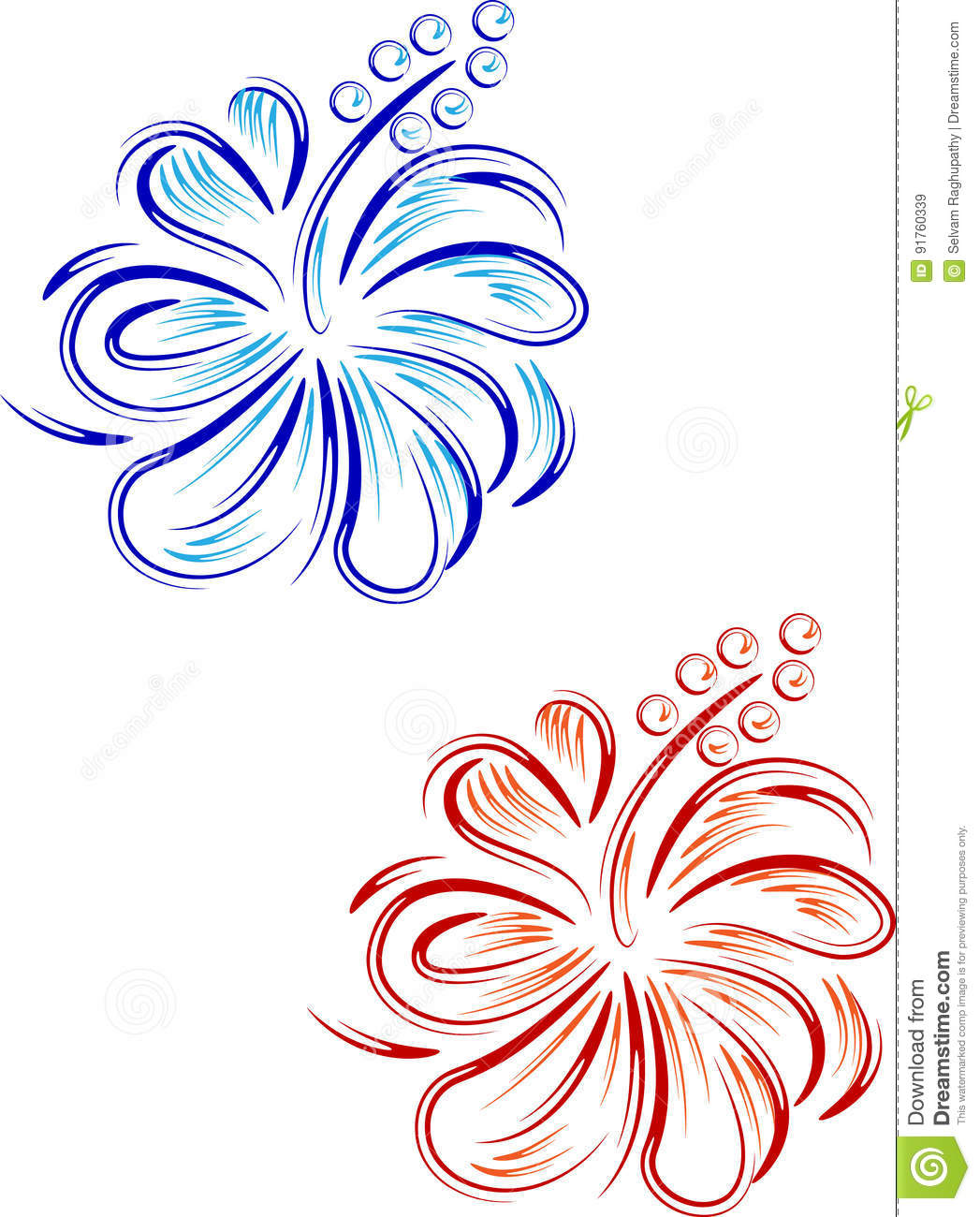 Abstract Hibiscus Floral Design Stock Vector Illustration Of