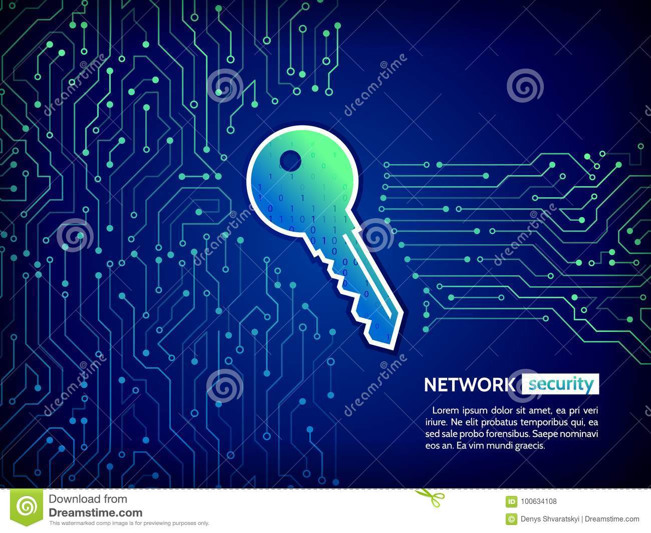 Abstract High Tech Circuit Board With Technology Key Security Concept Background Download Preview