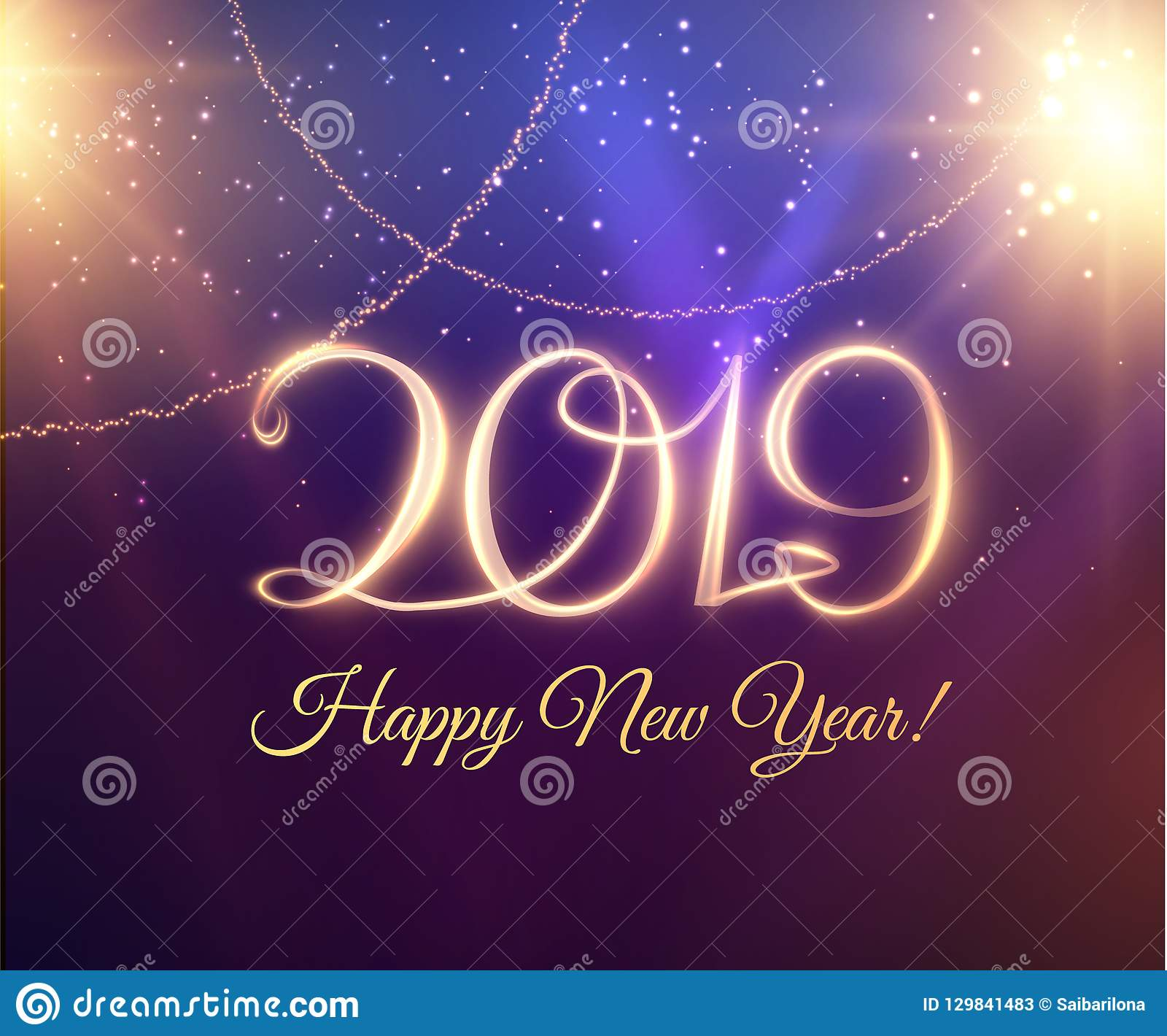 2019 abstract holiday new year background with written light trace text vector eps10