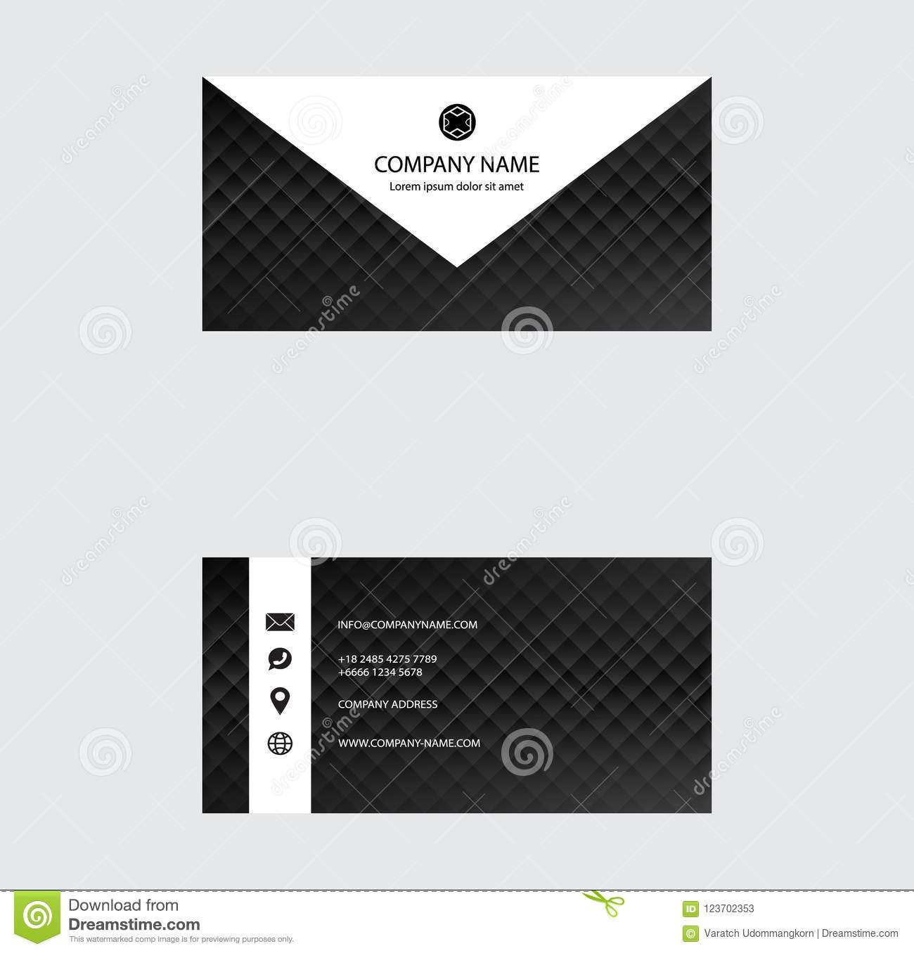 Set of Business Card Design, Black and White color, Contact card for company, Infographic. Abstract Modern Geometric Backgrounds