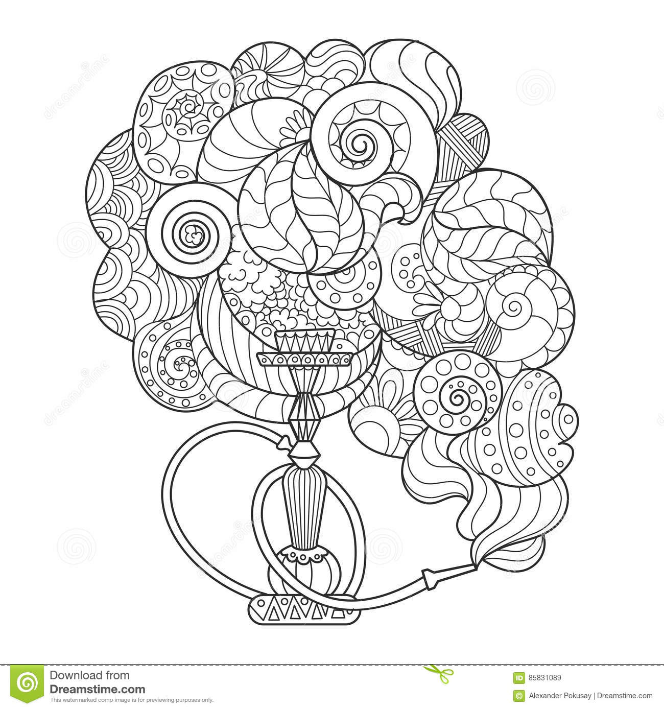 Abstract Hookah Coloring Book Vector Illustration Stock