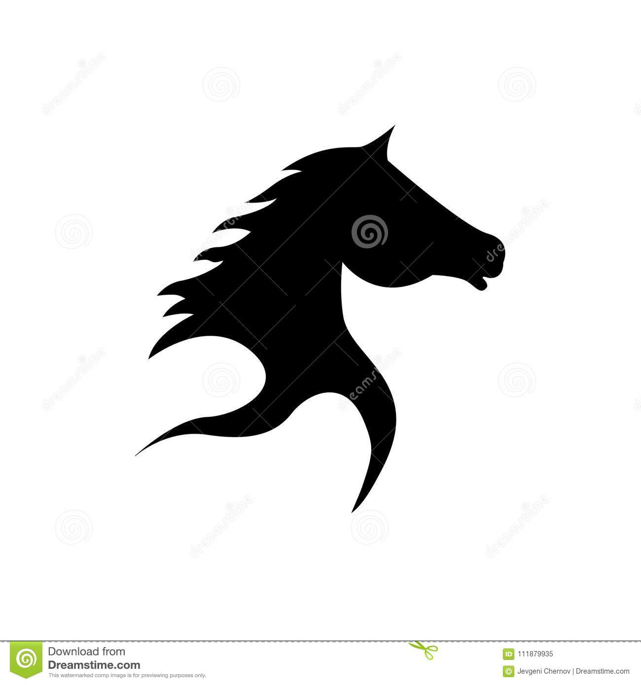 abstract horse head silhouette in black stock vector illustration