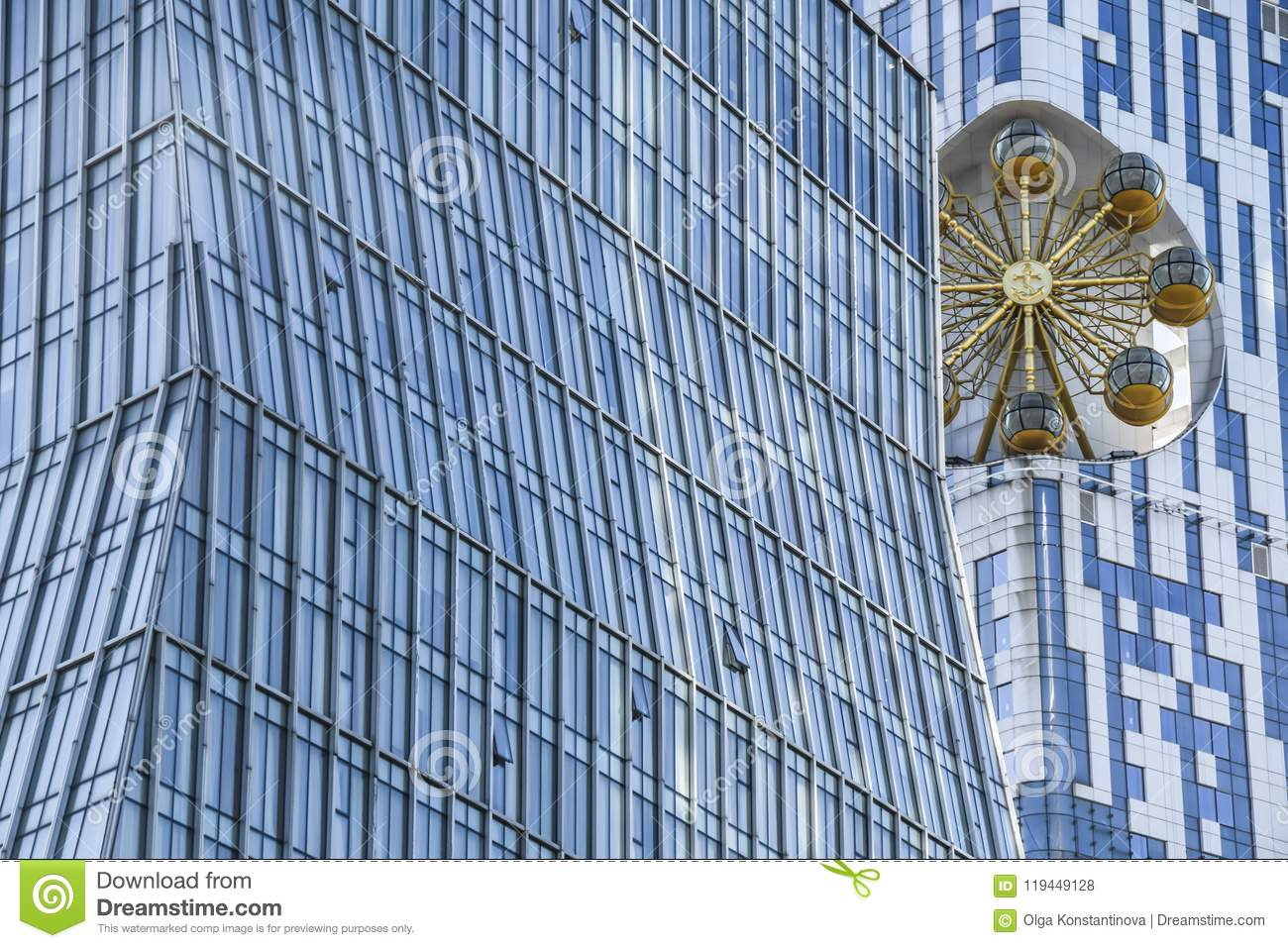 Abstract house of glass office with gold merry-go-round backgrou