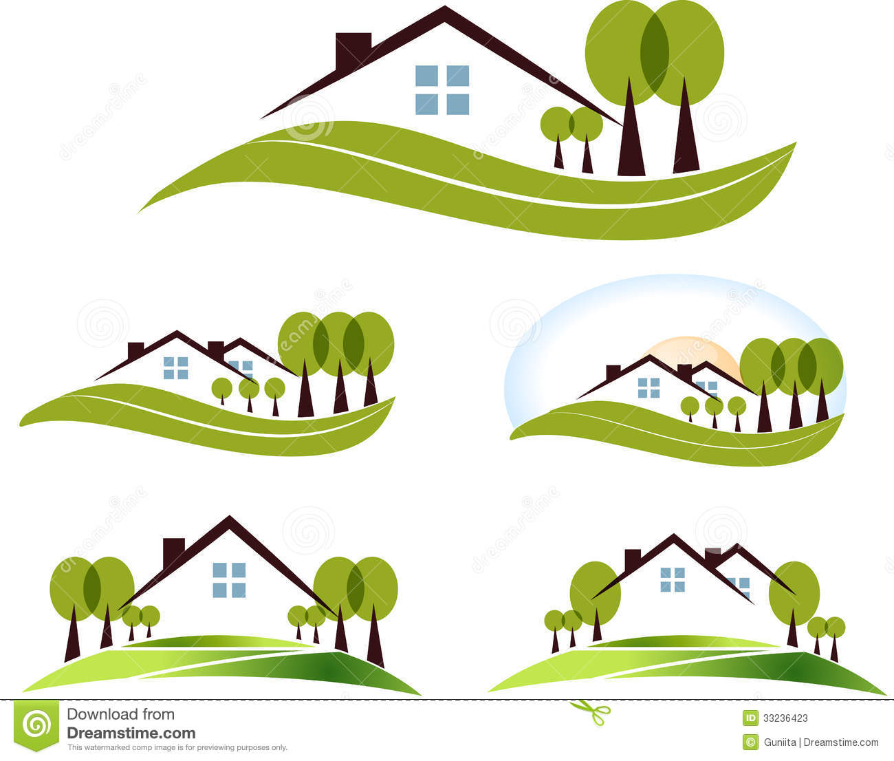 Abstract house and trees illustration set. Beautiful garden, trees and ...