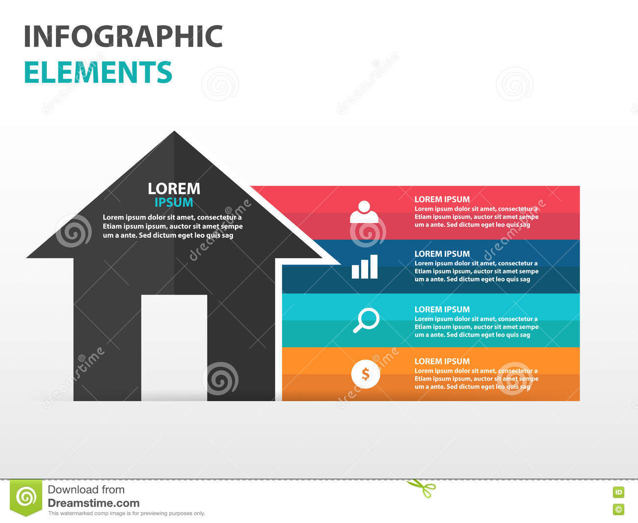 Abstract triangle business infographics elements for Strategy house template