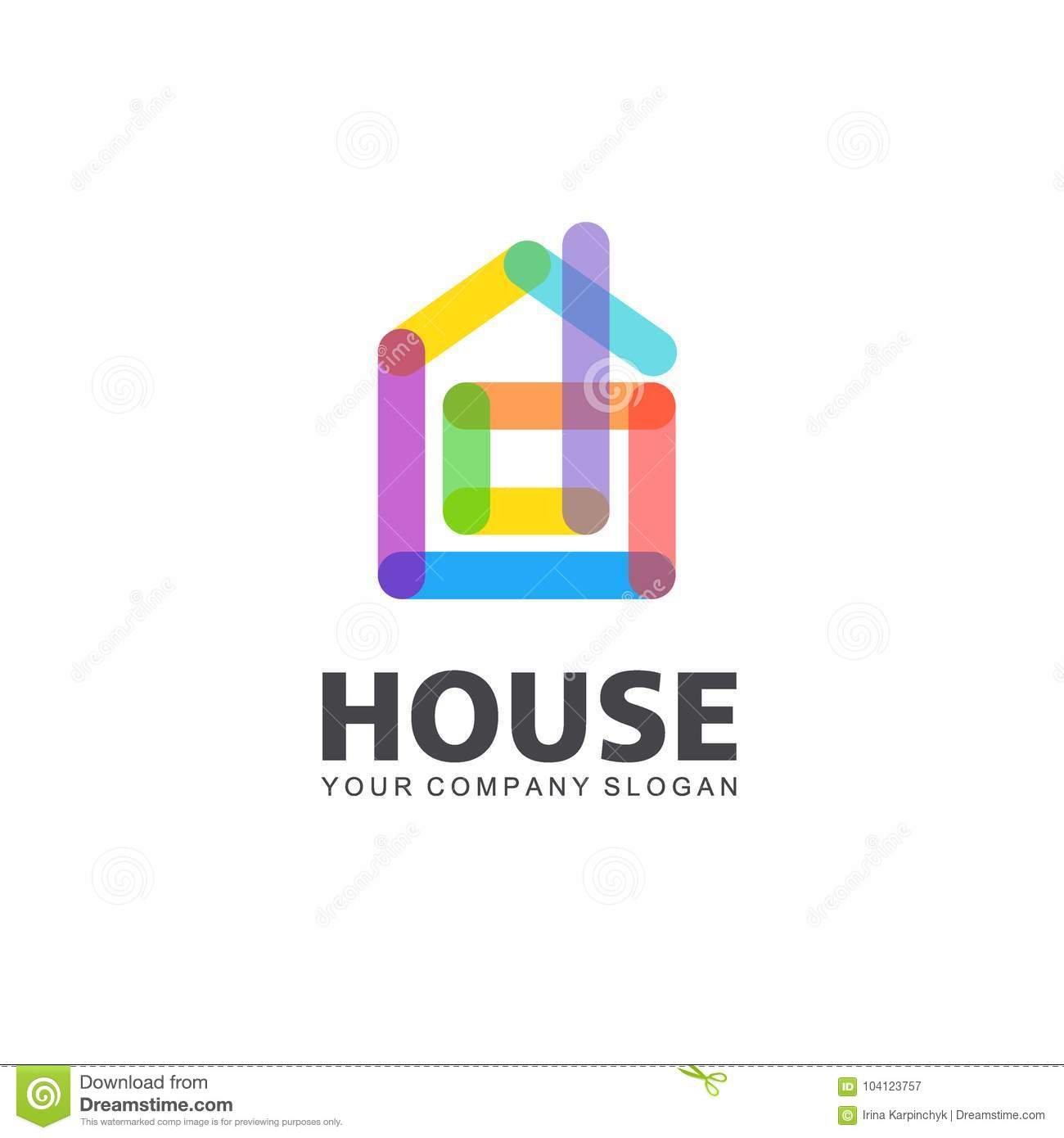 Abstract House Vector Logo Template. Colorful Sign. Home Design. Vector  Template