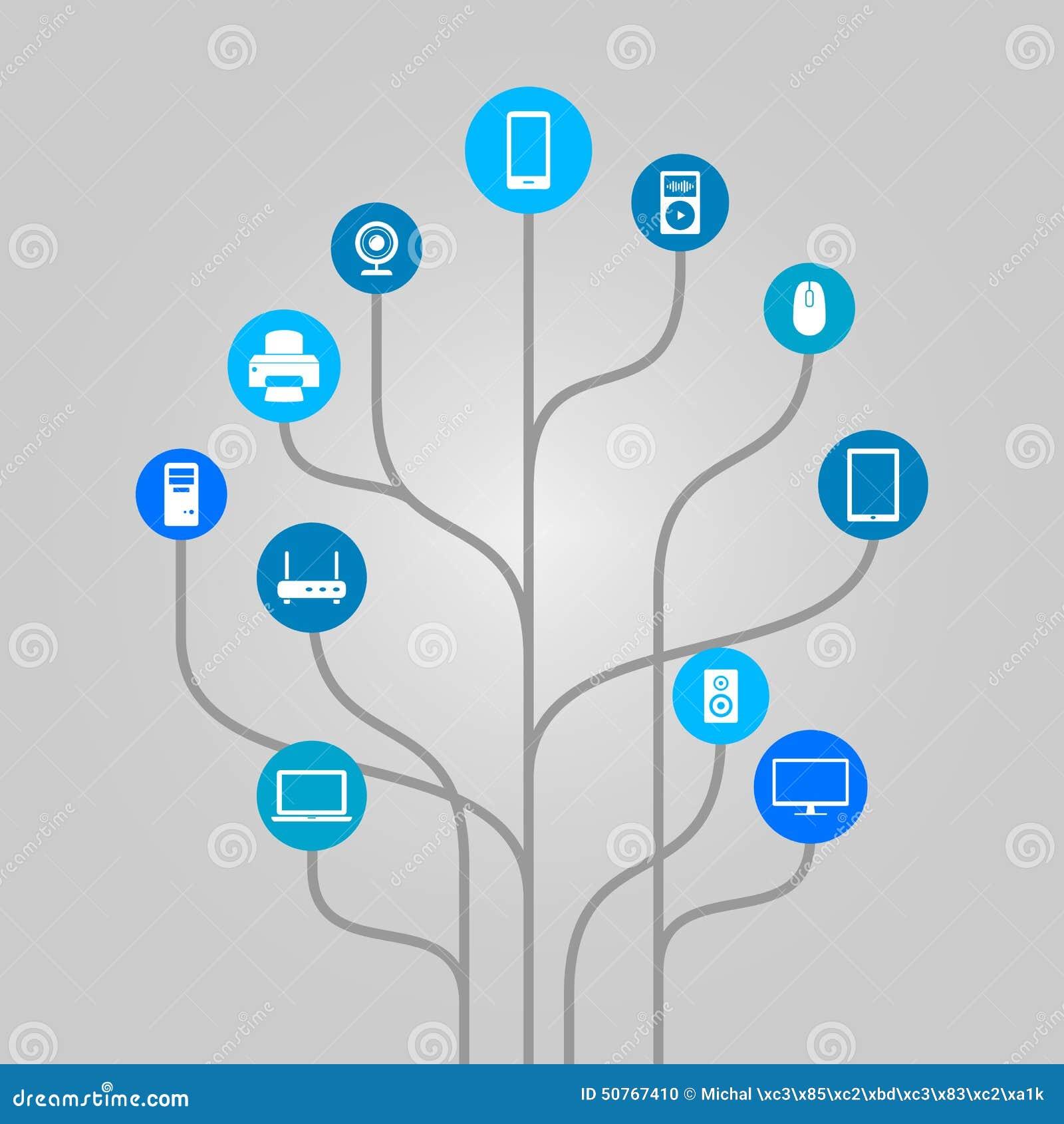 Abstract Icon Tree Illustration - Computer Hardware