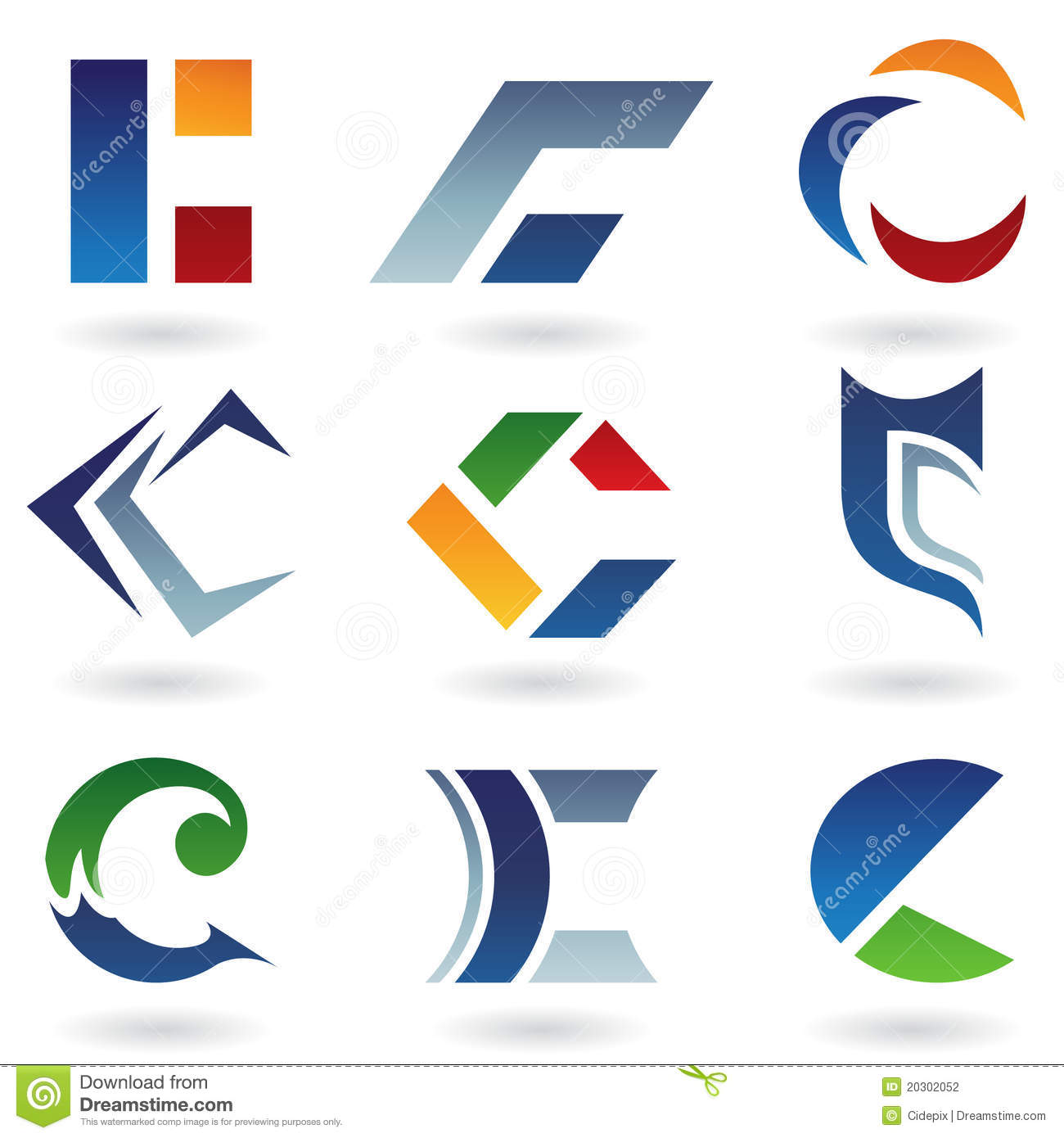 Abstract Icons Resembling Letter C Stock Vector