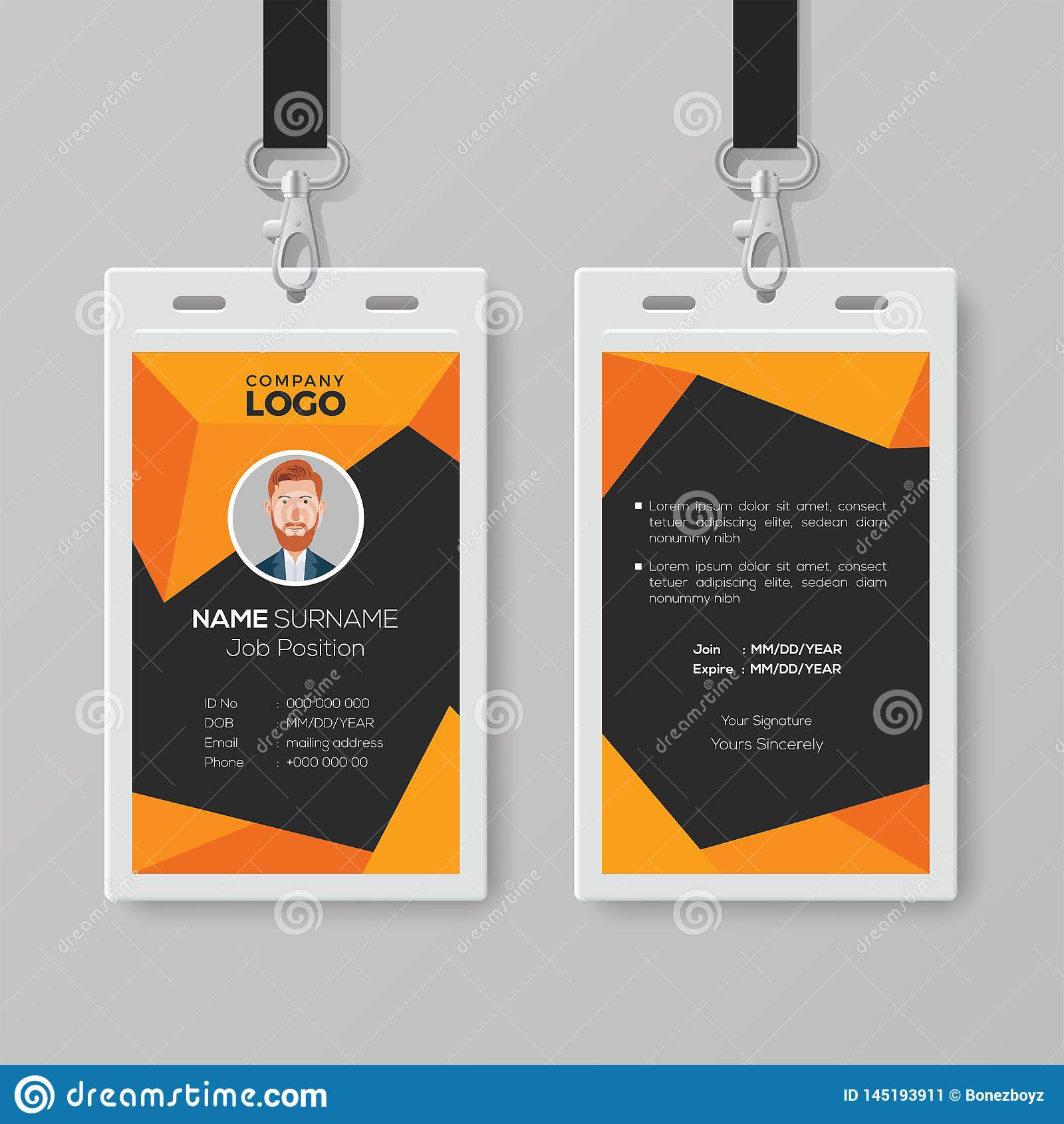 Abstract ID Card Template With Geometric Style Stock Vector In Conference Id Card Template