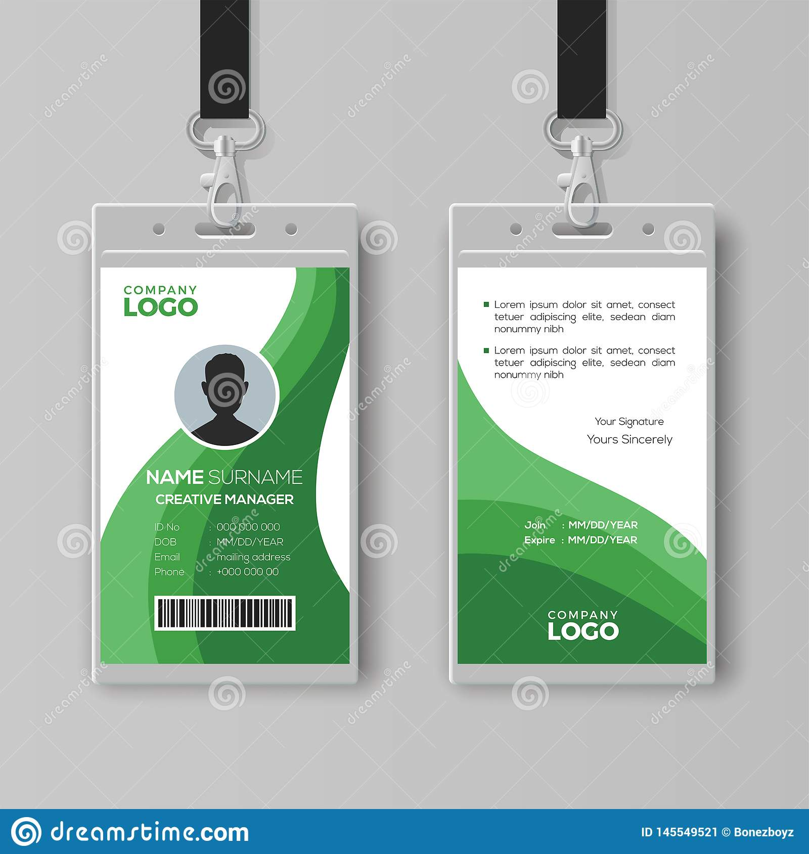 Abstract ID Card Template With Green Details Stock Vector Intended For Conference Id Card Template
