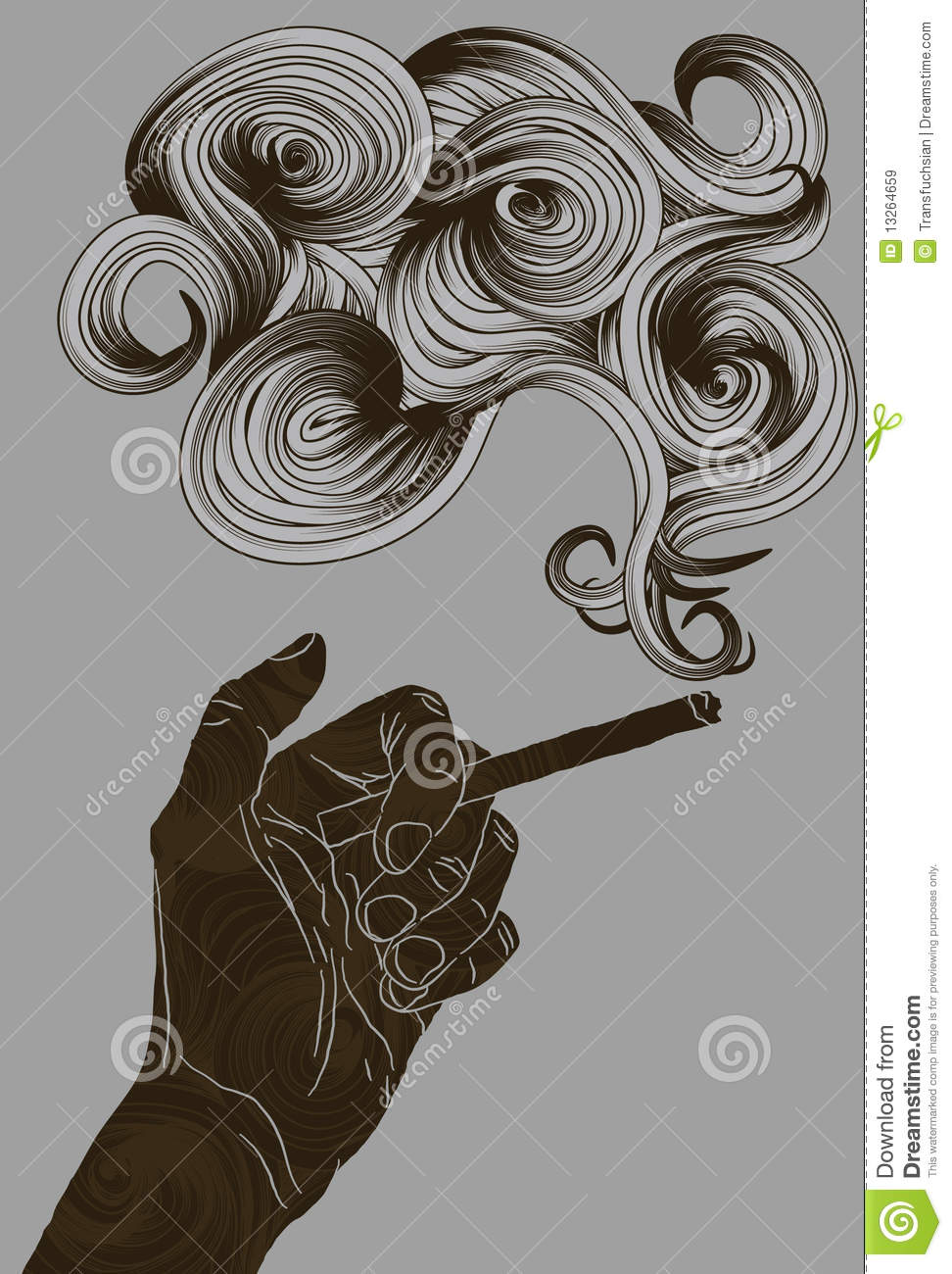 abstract illustrated hand holding a cigarette stock vector