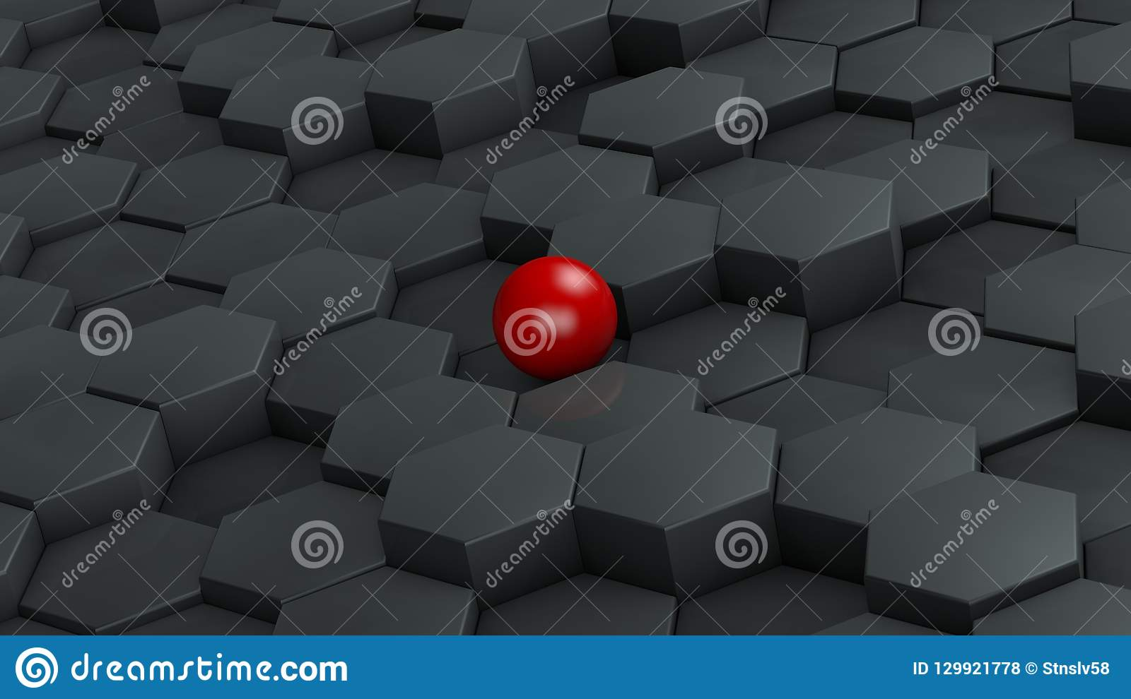 Abstract illustration of black hexagons of different size and red ball lying in the center. The idea of uniqueness. 3D rendering.