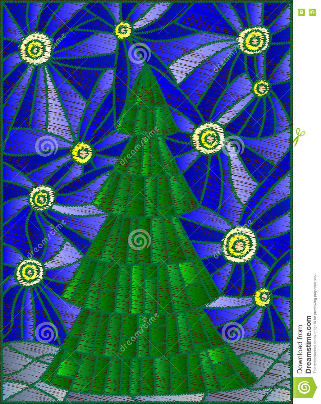 Abstract Illustration With Christmas Tree Against The Starry Sky