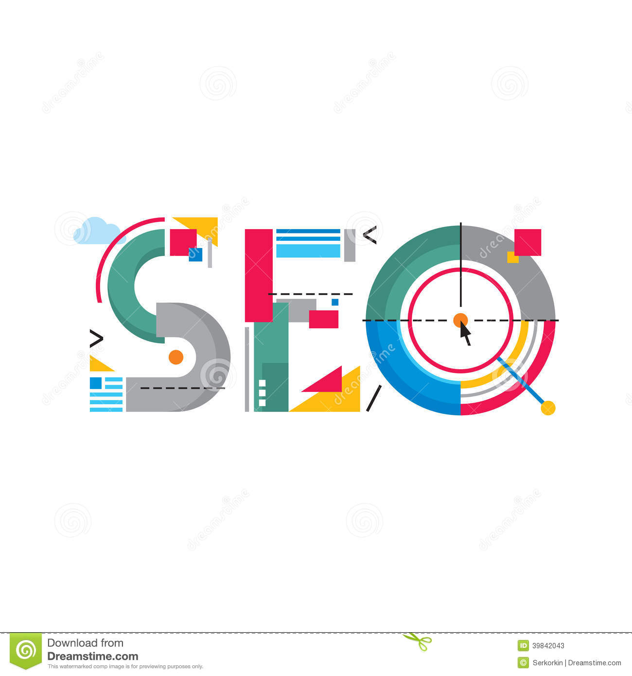 Abstract Illustration Concept Seo Word Logo Search