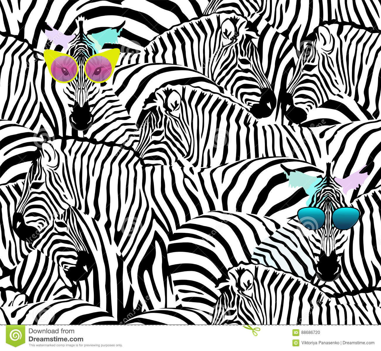 Abstract Illustration Herd Of Zebras, Animal Seamless Pattern Stock ...
