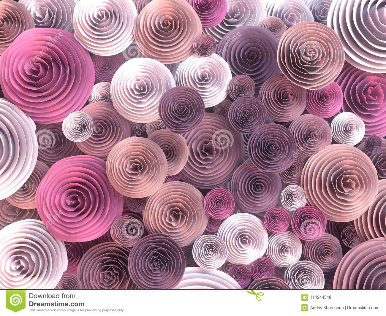 Abstract Illustration Of Paper Crafted Quilling Flowers With