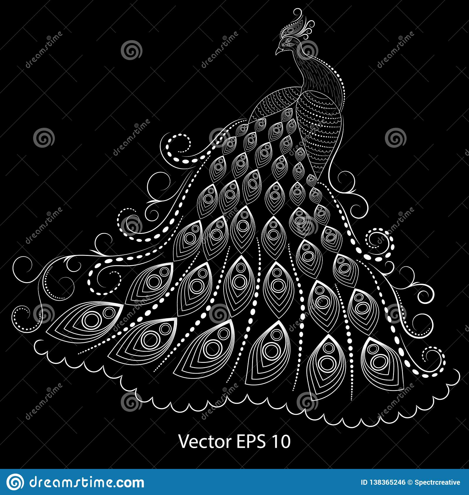 Abstract Illustration Of A White Peacock On A Black