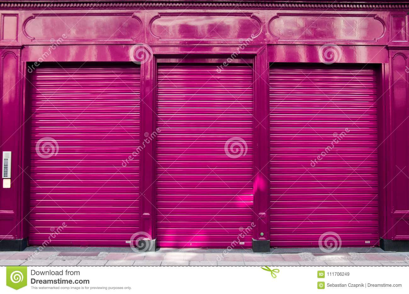 Business closure abstract with purple shop facade