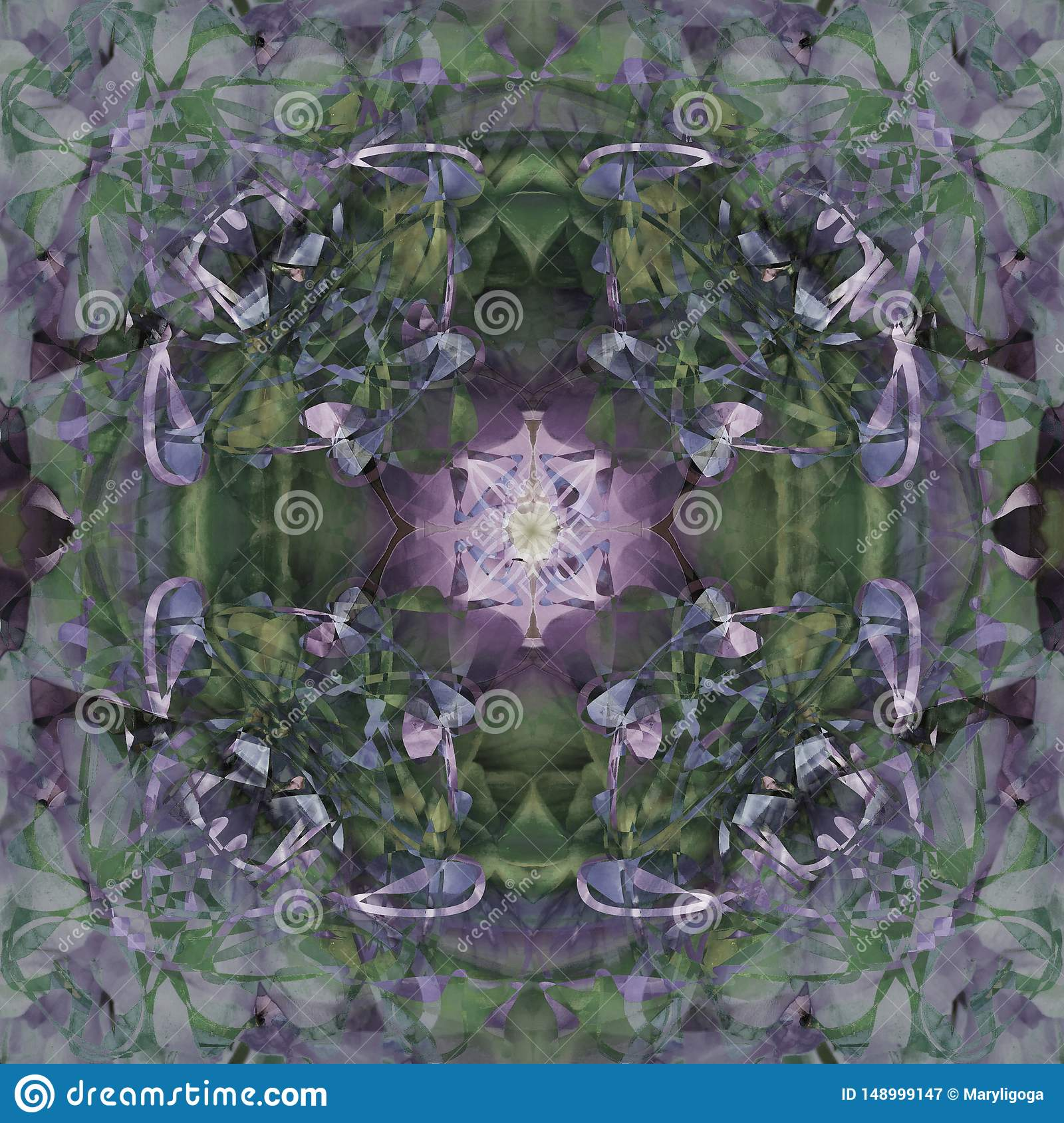 CLOVER FLOWER MANDALA, VINTAGE IMAGE IN GREEN, GRAY, PURPLE, WHITE, ABSTRACT BACKGROUND