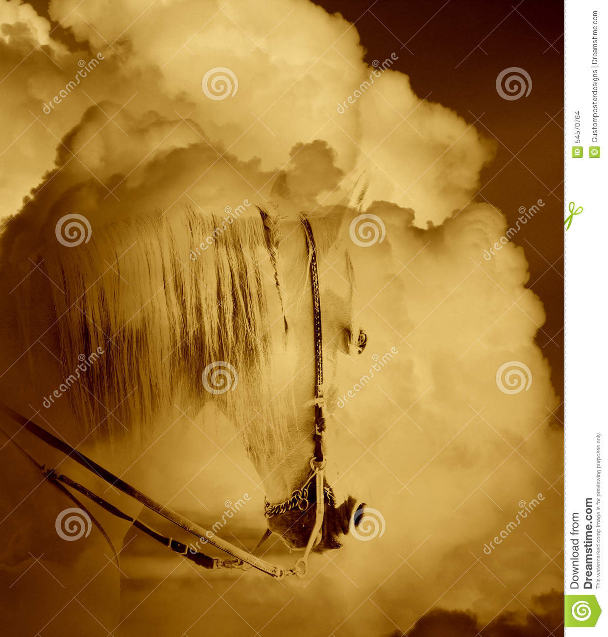 Download An Abstract Image Of A White Horse In The Clouds. Stock Photo - Image of magical, large: 54570764